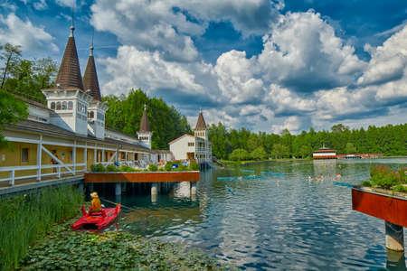 thermal spring: HEVIZ, HUNGARY - 15 August 2016: Heviz Thermal Lake Pools Resort with Hot Water in Hungary