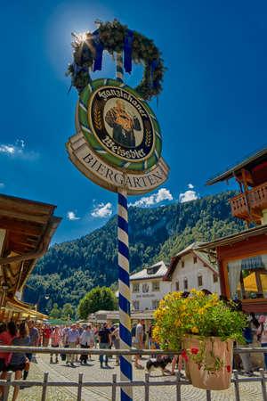 beer garden: KONIGSEE, BAVARIA GERMANY - 10 Aug 2016: Konigsee Bavarian Village Beer Garden Editorial