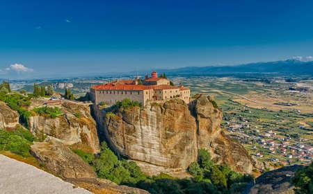 monastery nature: Meteora Mountain Monastery Complex in Greece Stock Photo