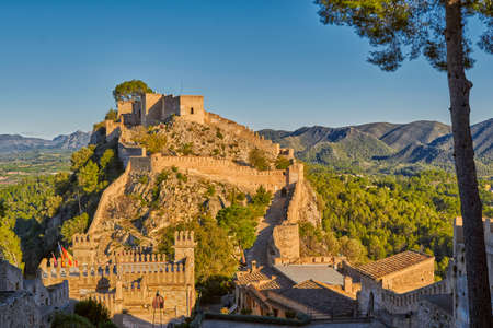 Historical Xativa Castle at Sunset, Valencia Region of Spain Banco de Imagens