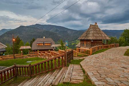 Mokra Gora, Serbia - June 02, 2017: Drvengrad (MecavnikKustendorf) Eco village built by Emir Kusturica in Mokra Gora of in Western Serbia Editorial