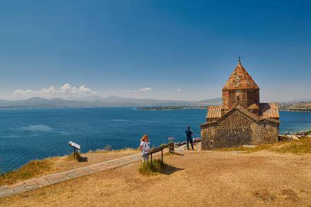 SEVANAVANK MONASTERY, ARMENIA - 02 AUGUST 2017: Famous Sevanavank Monastery Landmark on Scenic Lake Sevan in Armenia Editorial