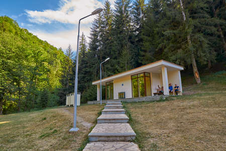 BORJOMI, GEORGIA - 07 AUGUST 2017: Sanitary block at hot springs pool at the end of central park of Borjormi
