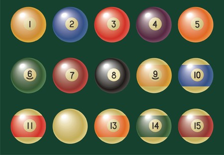 Billiard (pool) balls on green background. Both in JPG & EPS formats. Vector