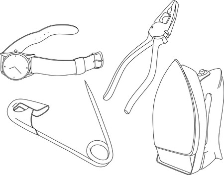 pincer: Set of household items (watch, pliers, pin, iron). Both in JPG & EPS formats.