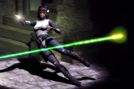 science fiction futuristic action girl photo