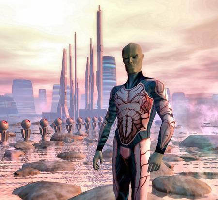 science fiction futuristic alien and city photo