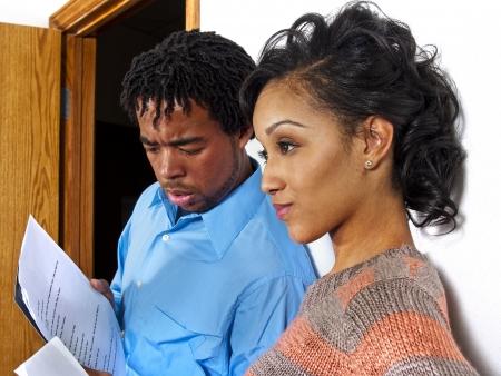acteur casting sessie in de rij Stockfoto