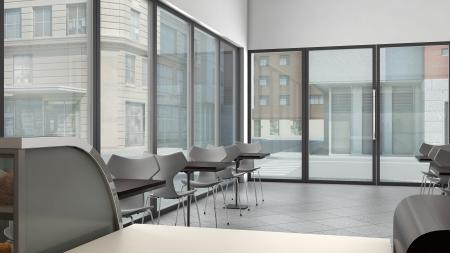 rendering: 3D render of bright coffee shop interior