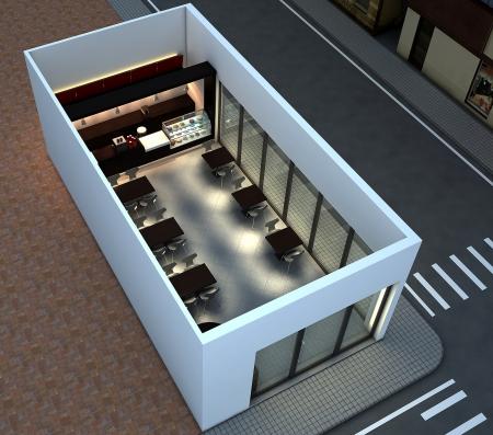 3D render of bright coffee shop interior