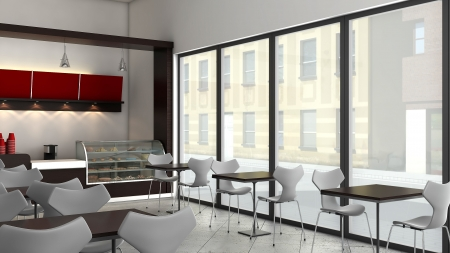 render: 3D render of bright coffee shop interior
