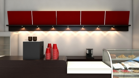 3D render of bright coffee shop interior photo