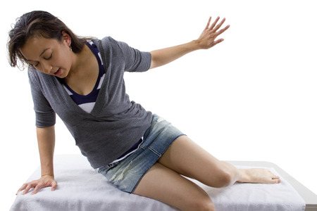 abducted: unconscious woman waking up. isolated for composites.