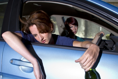 close up of passenger woman being car sick  Stock Photo