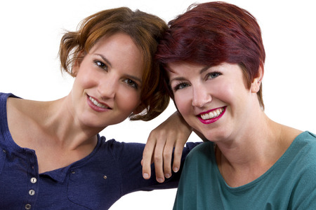 two women posing on white background as Best Friends Forever photo