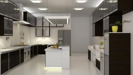 센터 구석 현대 깨끗한 흰색 부엌. 3D 렌더링. 스톡 콘텐츠