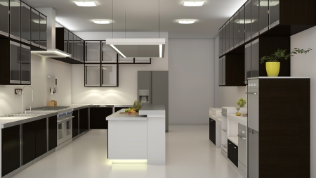 interior decoration: Modern clean white kitchen with center nook. 3D rendering.