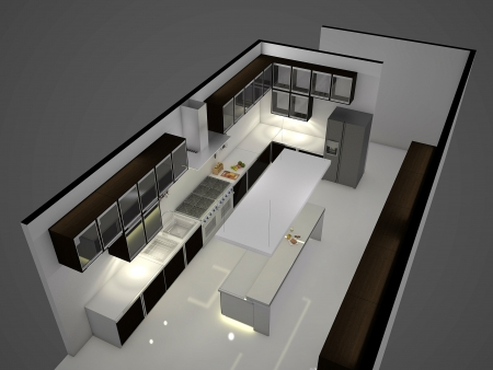 Modern clean white kitchen with center nook. 3D rendering.