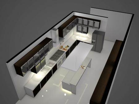 restaurant interior design: Modern clean white kitchen with center nook. 3D rendering.