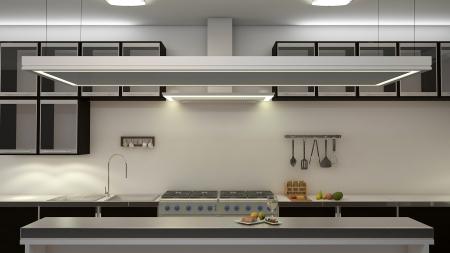 contadores: Cocina blanco limpio moderno con chimenea central. Representaci�n 3D.