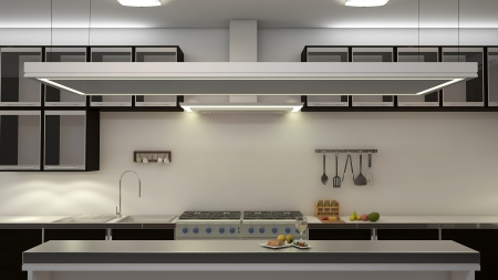 stove: Modern clean white kitchen with center nook. 3D rendering.