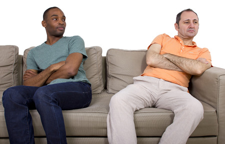 gay: Interracial gay couple going through relationship problems