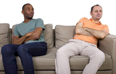gay couple: Interracial gay couple going through relationship problems