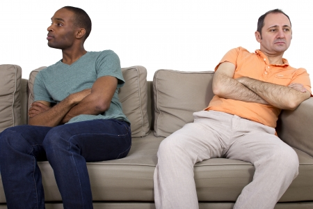 relationship problems: Interracial gay couple going through relationship problems