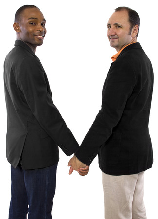 young black male and older Russian male getting married photo