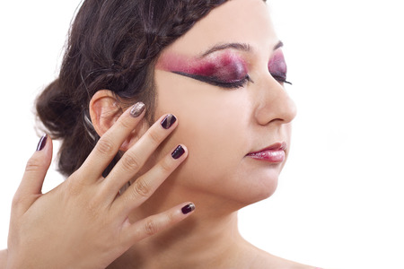 trendy cosmetic designs of make up and nail polish photo