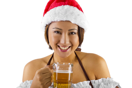sexy santa girl: sexy female bartender dressed as santas helper elf
