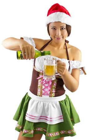 santa's helper: sexy female bartender dressed as santas helper elf