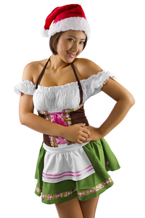 sexy elf: asian female waitress dressed in sexy elf costume