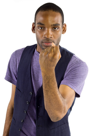 young black male isolated on a white background