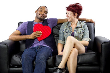 young black male and white female celebrating Valentines Day photo