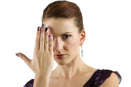 女性モデル: 表示中のネイルアート 写真素材