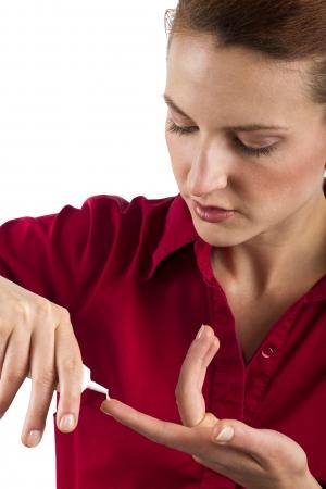woman applying anti aging cream ointments photo