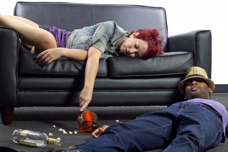 college dorm: drunken college friends after a wild house party