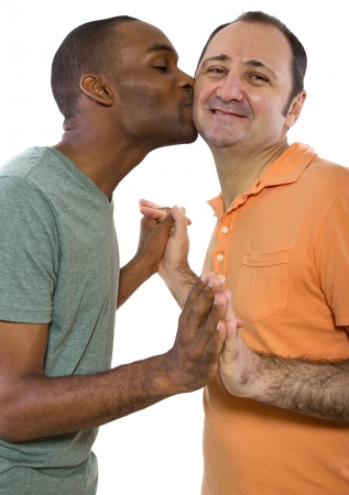 Gay Couple. Older Russian man with younger black male. photo