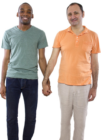 gay male: Gay Couple. Older Russian man with younger black male.