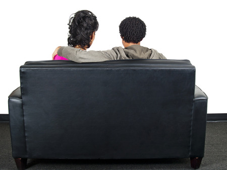couple on couch Stock Photo - 23723590