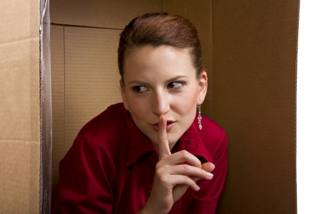 playful behaviour: young caucasian businesswoman