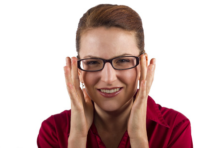 long sightedness: woman choosing prescription eyeglasses Stock Photo
