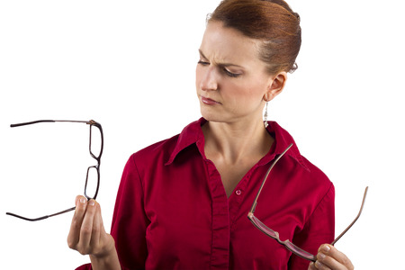 long sightedness: woman choosing prescription eyeglasses Stock Photo