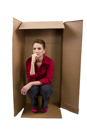 boxed: Businesswoman Feeling Boxed In