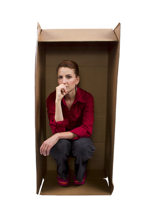 claustrophobic: Businesswoman Feeling Boxed In