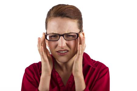 eyestrain: young businesswoman suffering from eyestrain Stock Photo