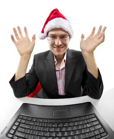 businessman celebrating Christmas by web chat on a computer Stock Photo