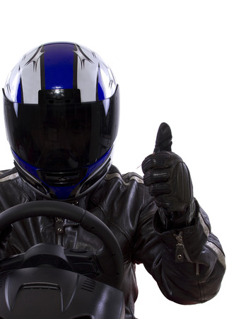 car protection: race car driver wearing protective leather and helmet