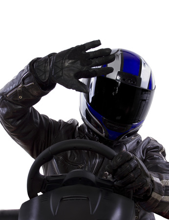 protective: race car driver wearing protective leather and helmet